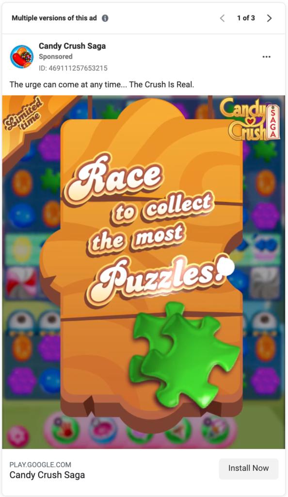 Candy Crush Saga Facebook Ad Library